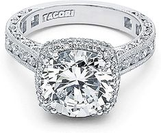 Tacori RoyalT Cushion Halo Diamond Engagement Ring HT2607RD loveeee! definitely my dream ring!!!