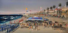 """La Plage et la Promenade des Anglais (15""""x 30"""") Copyright Kal Gajoum 2013"""