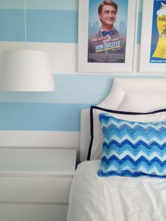 Love the blue stripes on the wall #blueandwhite