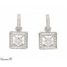 Peter Storm 18kt White Gold Diamond Hoop & Charm Earrings