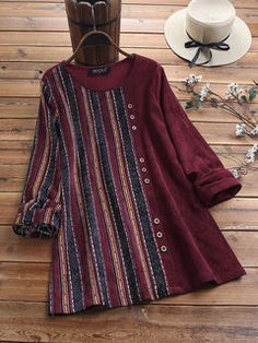 Hot-sale Socofy SOCOFY Folkways Flowers Pattern Genuine Leather Splicing Jacquard Elastic Band Slip On Flat Shoes - NewChic Mobile Striped Long Sleeve Shirt, Long Sleeve Shirts, New Kurti Designs, Cheap Blouses, Mode Hijab, Blouse Styles, Stylish Dresses, Stripe Print, Corduroy