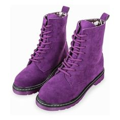 Have some funky shoes. Try pairing purple shoes with a red costume or vice versa Classic Martin High Top Lace Up Suede Boots In Purple The Purple, Purple Stuff, All Things Purple, Shades Of Purple, Cute Shoes, Me Too Shoes, Funky Shoes, Women's Shoes, Suede Boots