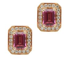 Details about  /1 ct Round Cut Fancy Pink stone Classic Stud Earrings 14k  Pink Gold Push Back