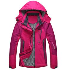 Aancy 2018 Spring Autumn Winter Women Jacket Single Thick Outwear Jackets Hooded Wind Waterproof Female Coat Parkas Clothing,Women Rose Red,L Best Winter Coats USA Womens Windbreaker, Windbreaker Jacket, Trekking, Hollister, Raincoats For Women, Winter Jackets Women, Mantel, Clothes For Women, Sweatshirts