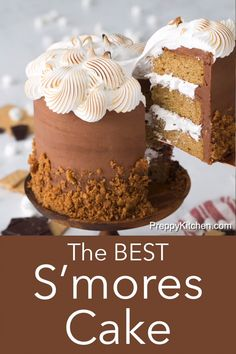 This delicious S'mores Cake from Preppy Kitchen has moist graham cracker layers filled with a marshmallow fluff, covered in chocolate buttercream, drizzled with dark chocolate throughout, and skirted with an addictive, crunchy graham cracker crumble. Cupcake Recipes, Baking Recipes, Cupcake Cakes, Dessert Recipes, Cake Filling Recipes, Cake Recipes From Scratch, Cake Flavors, Keto Desserts, Just Desserts