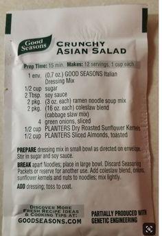 Crunchy asian salad of the good seasons - Salad recipes - Asian Recipes, Great Recipes, Favorite Recipes, Ramen Recipes, Salad Bar, Soup And Salad, Ramen Noodle Salad, Crunchy Asian Salad, Asian Salads