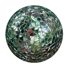 "Rome 9238 Garden Party Mosaic Gazing Mirror Ball, 6-Inch Diameter by Rome. $20.00. Made by Rome Industries. Forma modern garden art design. Perfect for outdoors or interiors. 6"" diameter mosaic mirror ball for the garden or interior. Influenced by the iconic disco ball, this mosaic ball is carefully handmade by taking randomly shaped sections of reflective mirror glass and grouting them to a glass ball. 6"" diameter. Adds flash and interest to the garden and also looks great ..."