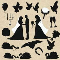 INSTANT DOWNLOAD Wedding Clipart Wedding Party Silhouettes Digital Clipart card design, invitations, stickers, web design. COMMERCIAL Use