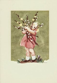 Several beautiful paintings of children with pussy willows. Childrens Christmas, Christmas Art, Childrens Artwork, Craft Images, Candy Art, Modern Artists, Flower Pictures, Children's Book Illustration, Beautiful Paintings