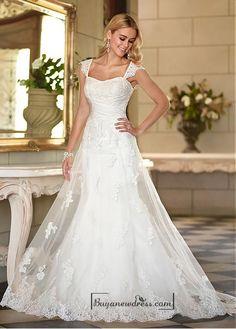 Alluring Tulle Sweetheart Neckline Raised Waistline A-line Wedding Dress - Buyanewdress.com