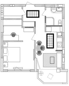 21-planta-apto-45m2 Lofts, Tiny Apartments, Plan Design, Architecture Details, House Plans, Floor Plans, Layout, Flooring, How To Plan