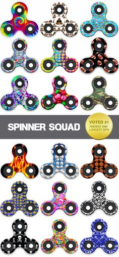 Spinner toys in printed designs! Voted #1 for fastest and longest spin.