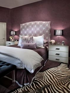 Black And White And Purple Bedroom dramatic black, white & hot pink room on a budget - girls' room