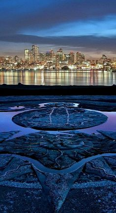 Spectacular view of the Seattle Skyline across Lake Union from the Gasworks Park Sundial. #DeltaDental