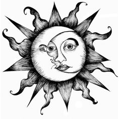 white black sun-moon tattoo