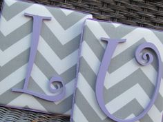 WE CAN TOTALLY MAKE THESE!  Framed Monogram, 6x7 Gray and Lavender, Gray Chevron, Painted Letters, Personalized Nursery Decor. $19.99, via Etsy.