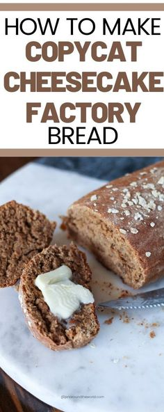 This delicious brown sweet bread is a copycat version of your favorite Cheesecake Factory Honey Wheat Bread. Cheesecake Factory Brown Bread, Honey Wheat Bread, Wheat Bread Recipe, Homemade Butter, Homemade Breads, Biscuit Bread, Yeast Bread, Pan Integral, Bread Machine Recipes