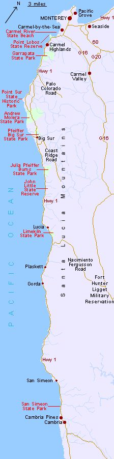 Map of the Big Sur coast, from Monterery to Cambria