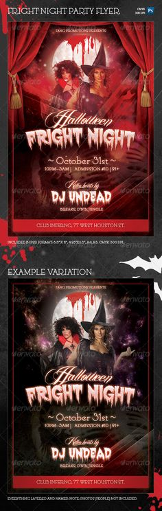 "Halloween Fright Night Party Flyer Template  #GraphicRiver         Halloween Fright Night Template is a Halloween theme party flyer template with a vampire theme and a sinister, yet seductive blood-red color scheme. Use it for Halloween club parties, costume parties or other Halloween events!  This download features:   Photoshop file for 4.25""x6.25"" size  300 dpi  0.25 inch bleeds + trim guides (6.35 mm)  CMYK colors  Print-ready  Easy customization: quickly paste in your image and edit the…"