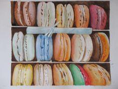 AQUARELLE - Boîte de macarons par Nicole L. Macarons, Water Colors, Macaroons