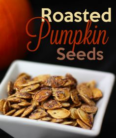 We love this roasted pumpkin seed recipe.  Adding the spices really makes them stand out!!