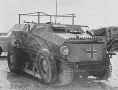 Sdkfz 254 was a fully tracked armored scout car here seen in Afrikakorps service employed by Wehrmacht during World War II.