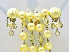 Springtime Yellow Multi 2 Strand Channel Set Crystal Necklace Earrings Vintage   eBay