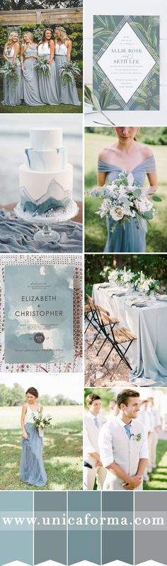 Slate blue wedding with grey accents. Dusty blue wedding. Boho wedding