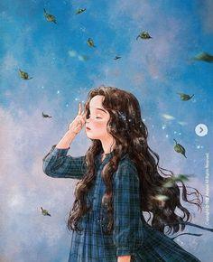 Girl Cartoon, Cartoon Art, Blue Butterfly Wallpaper, Trippy Wallpaper, Lovely Girl Image, Forest Girl, Cool Art Drawings, Art Plastique, Anime Art Girl