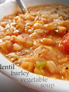 Lentil Vegetable Barley Soup  Lentil Vegetable and Barley Soup 1/2 large onion or one small onion, diced 1 green bell pepper, diced 2 medium summer squash (or zucchini), halved lengthwise and sliced thinly 1 C carrots, thinly sliced 1/2 C red lentils 1/2 C yellow split peas 1/2 C barley 1 can diced tomatoes 3 C vegetable broth (or chicken or beef), plus ~2 C extra water 1/2 t salt 1/2 t sugar 1/4 t black pepper fresh or dried basil to top (optional) Set the crock pot on low for eight hours…
