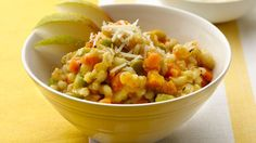 Every spoonful of creamy barley risotto is dotted with lovely sweet potatoes and edamame.