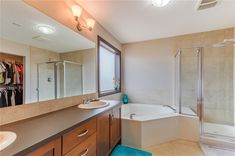 Master ensuite has his/her sinks, relaxing soaker tub & separate glass shower. Diamond Realty & Associates Ltd. Soaker Tub, Selling Real Estate, Glass Shower, Sinks, Corner Bathtub, Home Buying, Open House, Separate, Relax