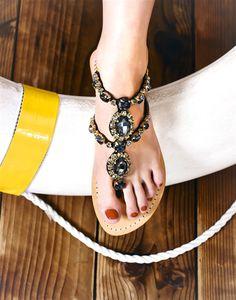 Waialua - Women's Leather Jeweled Sandals - Mystique Sandals