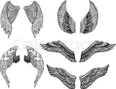 Stock vector of 'Heraldic wings set for tattoo or mascot design. '