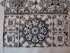 needle lace, in process