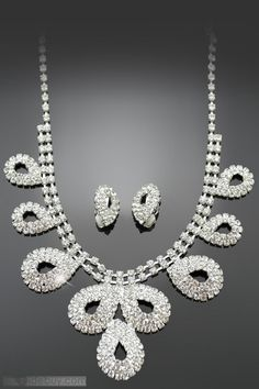 Lovable Waterdrop Shaped Alloy with Rhinestone Wedding Jewelry Set(Including Necklace and Earrings)