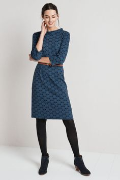 A smart, printed cotton jersey dress with a stylish Hepburn neckline. Our Cleats Dress is a semi-fitted knee-length waisted shift in a unique Seasalt print. Cute Dresses, Dresses With Sleeves, Boho Dress, Printed Cotton, Work Wear, Clothes For Women, Stylish, My Style, Shift Dresses