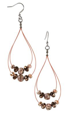 Earrings with Czech Fire-Polished Glass Beads, Kato Polyclay™ and Accu-Flex® Beading Wire