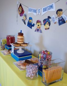 "Treat table, ""everything is awesome,"" Lego Movie birthday party via milissweets.com"
