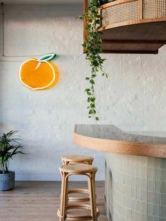 restaurant interior Biasol looks to Tulum for interiors of Tasmanias Sisterhood restaurant Neoclassical Interior, Interior Tropical, Tropical Decor, Tropical Furniture, Deco Restaurant, Restaurant Design, Restaurant Interiors, Cafe Interiors, Restaurant Shelving