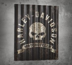 A sign of naughty things to come. | Harley-Davidson Corrugated Aluminum Skull Sign