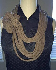 New Handmade Ladies Tee Brown Heather Infinity Scarf #Handmade