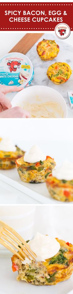 Talk about a wake-up call. These spicy, cheesy cupcakes are the perfect snack to help you rise and shine. INGREDIENTS 1 Box of The Laughing Cow Creamy White Cheddar 1 Tablespoon Coconut Oil 8 Whole Eggs 1 Cup Chopped Red Pepper 1 Cup Chopped Green Pepper 2 Cups of Roughly Chopped Baby Spinach ½ Cup Chopped Onions ½ to 1 Cup Cooked, Crumbled Bacon ½ TSP Minced Garlic Salt And Pepper To Taste Sriracha