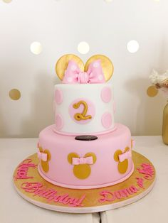 Pink & Gold Minnie Mouse Birthday Cake