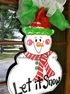 Red and Green Snowman Door Hanger  Bronwyn by BronwynHanahanArt, $45.00