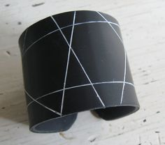 SALE Geometric Black Cuff Bracelet,  Polymer Clay Jewelry by theshagbag on Etsy on Etsy, $15.95