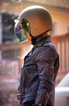 Chrissy in her Biltwell helmet and bubble shield. Photo by Virginia Hall