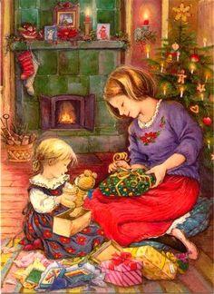 niña y su mamá con regalos de Navidad