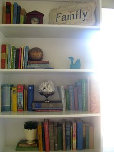 bookshelves.... Tess look at the colors of these old books