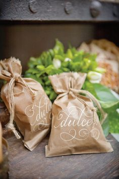 Dessert delicacies calligraphy favors brown paper bag natural kraft paper weddings events parties
